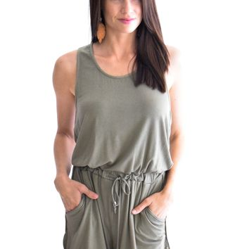 Summer Away Romper In Olive