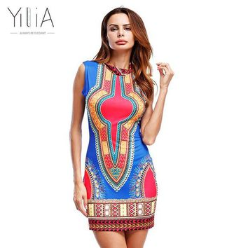 ONETOW Yilia Women Summer Dress Casual 2017 Short Sleeveless Ladies Sexy African Dresses Dashiki Traditional Print Mini Womens Beach