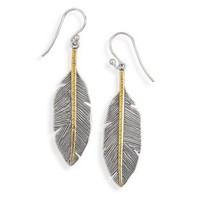 Oxidized sterling silver feather drop earrings with 14 karat gold plated sterling silver accents