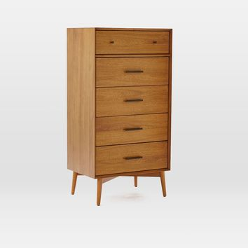 MID-CENTURY 5-DRAWER DRESSER - NARROW