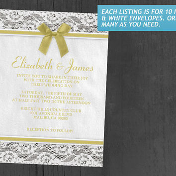 Yellow Country Lace Wedding Invitations | Invites | Invitation Cards