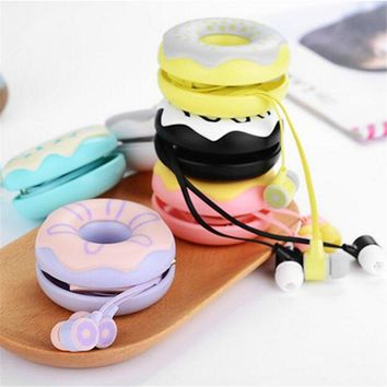 Donut case Candy Color Cute Earphones Mic headphone for girls Kids 3.5mm Earbuds for iPhone Samsung Huawei MP3 iPod Cellphone