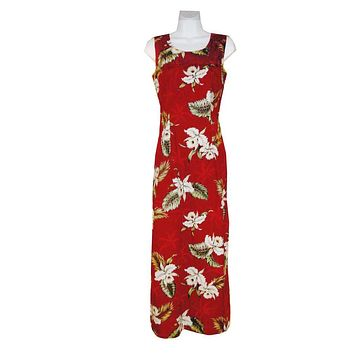 Ky's Red 100% Cotton Womens Tank Aloha Dress with White Orchids