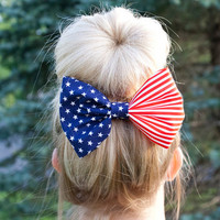 Red White and Blue American Flag Fabric Hair by TheManeBowtique