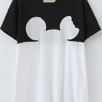 Black and White Color Block Short Sleeve Character Print T-Shirt