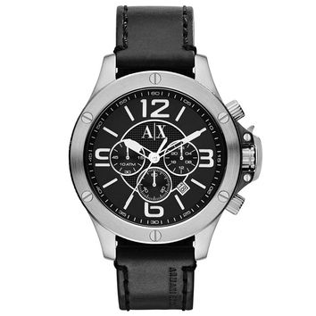 Armani Exchange AX1506 Men's Well Worn Black Dial Black Leather Strap Chronograph Watch