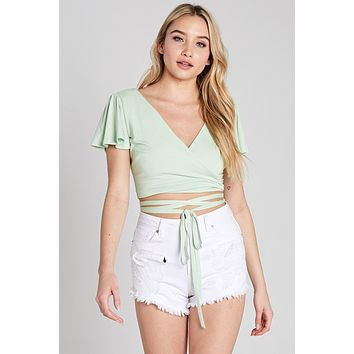 Ruffle Wrap Crop Top