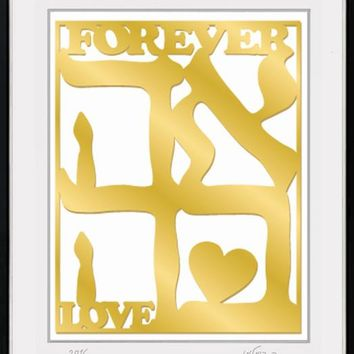 Forever Love Gold Laser Cut Framed Wall Art