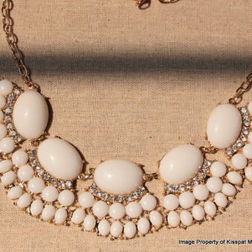 Off-White Statement Necklace, Jcrew Inpired Bib Jewelry,Free Gift Box Packaging Available