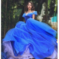 Ball Gown Prom dresses Strapless Off Shoulder Sexy Backless Princess Blue Organza Long Elegant Cinderella robe de bal longue