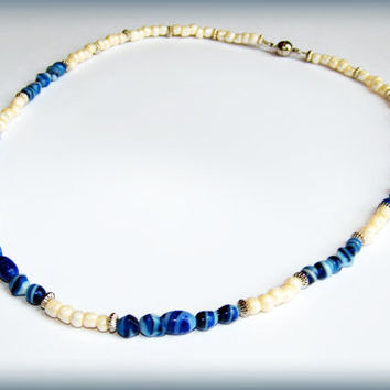 Blue Beachy Necklace - cream, silver and blue with magnetic clasp