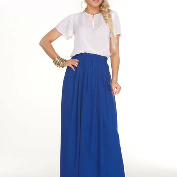 Fashion Chiffon Skirt, Maxi Skirt for Summer,Blue Long Skirt Beach,quality Maxi Skirt Royal blue.