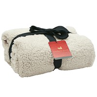 Watson Fluffy Pile & Tartan Blanket in Oatmeal by Southern Marsh