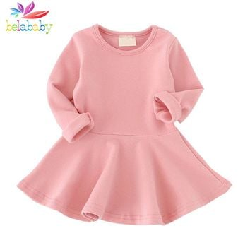 Belababy Baby Girl Dress Candy Color Long Sleeve Cotton Clothes Spring Autumn Toddler O-neck Ruffles Princess Dress Kids Vestido