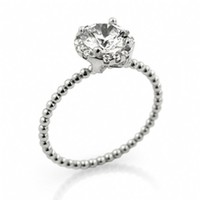 Tristan's Small Carat Beaded Band Stackable Engagement Ring