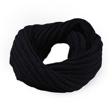 Winter women scarf Knitted lovers girl neckerchief Circle Wool Shawl Wrap women Warm muffler Crochet Tippet 11 colours 50*30cm