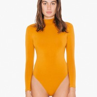 Cotton Spandex Mock Neck Cutout 'Ryder' Bodysuit | American Apparel