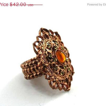 25% OFF CLEARANCE SALE Antique Italian Style - Copper and Peridot Vintage Rhinestone Ring with Amber Cabachon, Vintage jewelry