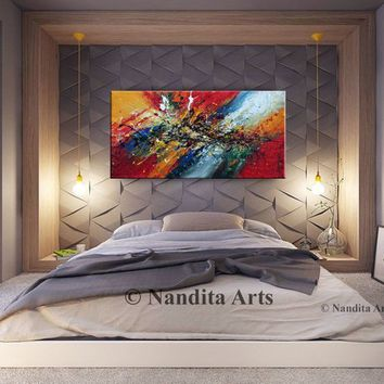 "Abstract Painting on canvas original Large modern wall art 52"" Fall decor Painting by Nandita Albright"