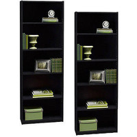 Set Of Two 5 Shelf Modern Bookcase Storage Bookshelf 2 Book Case Furniture