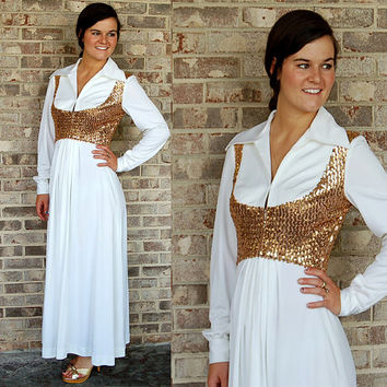 1970s maxi dress, Private Label dress, gold sequins, gold and white, dress with vest, gold sequin mock vest, Size M