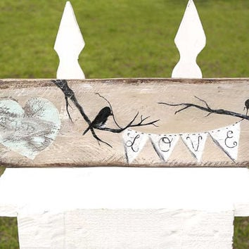 Rustic Wedding Signs Shabby Chic Wedding Gift Engagement Wood Anniversary Gift for Couple Brown Mint Wedding Photo Prop Love Birds Painting