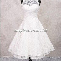C268 1950s 60s vintage lace short wedding dress