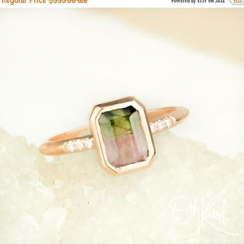 ON SALE Emerald Cut Watermelon Tourmaline Ring - Diamonds on Band - October Birthstone Ring
