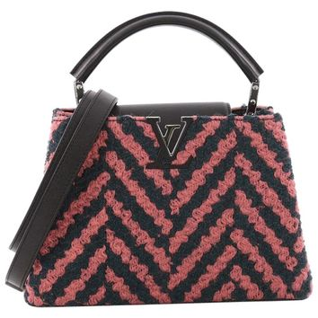 Louis Vuitton Capucines Handbag Chevron Tweed with Leather BB
