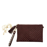 Classic Faux Leather Chevron Tassel Crossbody Pouch