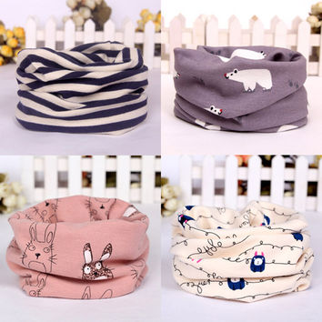 new winter cartoon baby scarf bunny strip berry bear dots kids o ring collars boy's girl's neck wear scarves wraps accessories