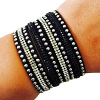 Fitbit Bracelet for FitBit Flex Activity Tracker - The TINLEY Black Rhinestone Studded Snap Bracelet for Small Wrists - FREE SHIPPING