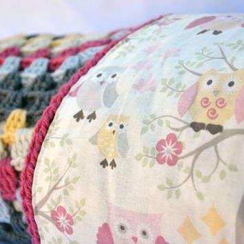 Pink and grey owl crochet baby blanket, granny square reversible crochet baby blanket