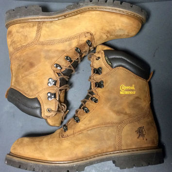 """CHIPPEWA 55066 8"""" Heavy Duty Lug Brown Leather Work Boots Men's Size 12"""