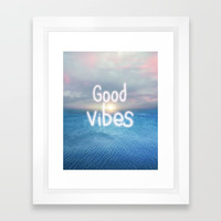 Good vibes Framed Art Print by vivianagonzalez