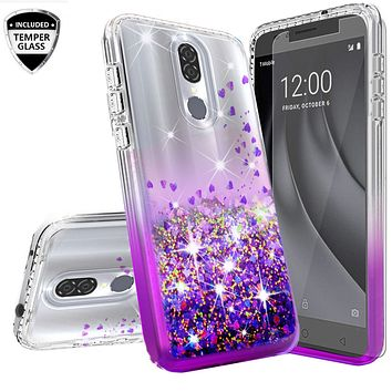 Nokia 3.1 Plus Case Liquid Glitter Phone Case Waterfall Floating Quicksand Bling Sparkle Cute Protective Girls Women Cover for Nokia 3.1 Plus W/Temper Glass- Purple