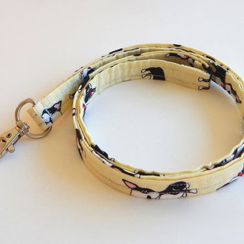 Dog Lanyard / Boston Terriers / Puppy Keychain / Cute Lanyards / Key Lanyard / ID Badge Holder / Fabric Lanyard / Dog Keychain / Puppies