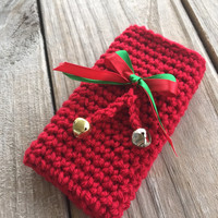 Christmas phone case red w ribbons and jingle bells, All sizes, Christmas phone cover, Crocheted Christmas phone cover, Holiday phone cover