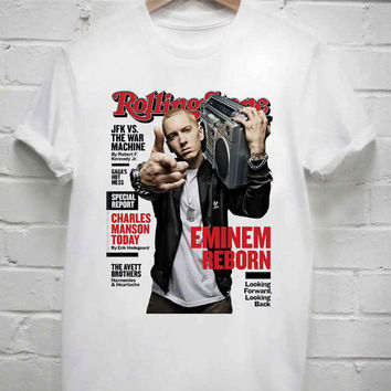 Custom Tshirt Rolling stone eminem reborn screenprint