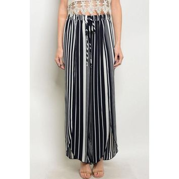 Relaxed Fit Pinstriped Navy Palazzo Pants