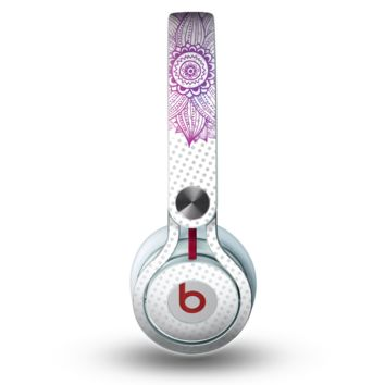 The Vibrant Vintage Polka & Sketch Pink-Blue Floral Skin for the Beats by Dre Mixr Headphones