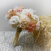Rustic Antiqued Pink & Blush Bouquet, Rustic, Country, Bohemian, Woodland, Style Weddings. Made to Order.