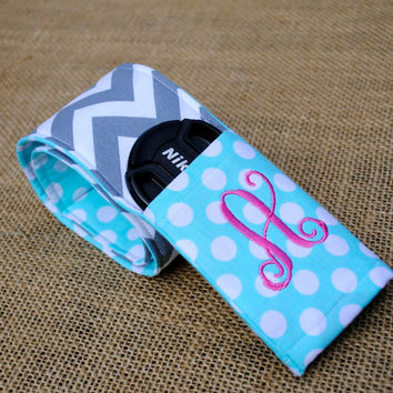 Chevron camera strap cover with monogrammed by LindsaysMonograms