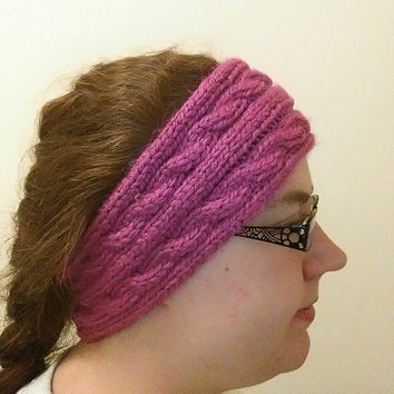 Pink Ear Warmer Headband, Pink Winter Headband