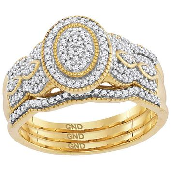 10kt Yellow Gold Womens Diamond Oval Cluster Milgrain 3-Piece Bridal Wedding Engagement Ring Band Set 3-8 Cttw