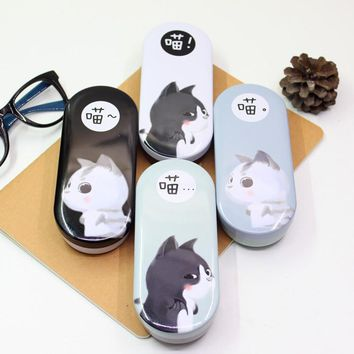 Beautiful Lovely Cute Cartoon Little Cat Pencil Case Iron Tin Metal Glasses Box Kawaii Spectacle Case Students Gift