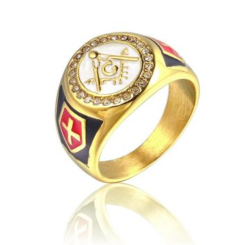 size 7 to 15 stainless steel gold master masonic ring,free mason signet rings for men  gold freemason ring with white red enamel