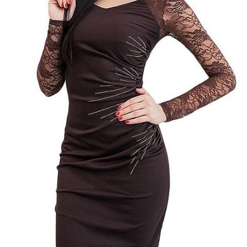 Chicloth Side Back Slit Pencil Dress Lace Sleeves Ruched