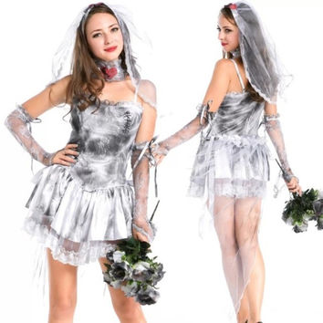 Adult's Halloween Costumes For Women Ghost bride Cosplay Party Fancy Dress