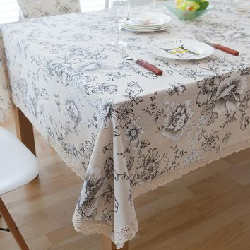 White peony Cotton Linen Table Cloths Dinner Tea Table Vintage Pattern Lace Tablecloth Tafelkleed Home Decoration